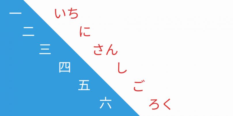 Japanische Zahlen von 1 bis 6 in Kanji und Hiragana.